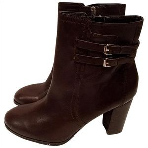 Marc Fisher Kattie Dk Brown leather ankle boots